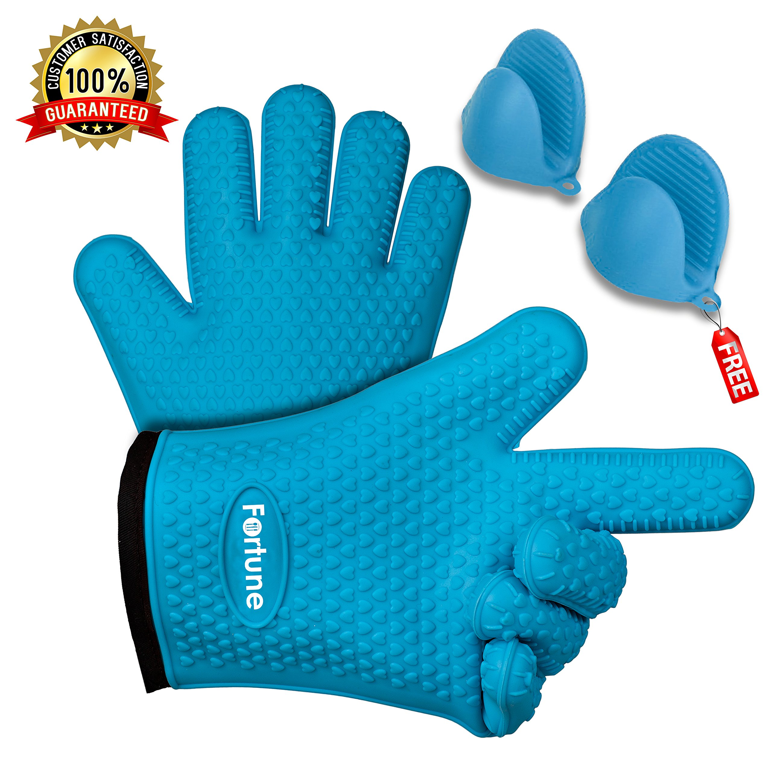 Silicone Grilling Gloves - Best Heat Resistant Oven Mitts For Cooking, Baking, BBQ & Boiling Non-Slip Potholders with Internal Cotton Layer - Includes Mini Oven Mitt (Blue) by Fortune by TM