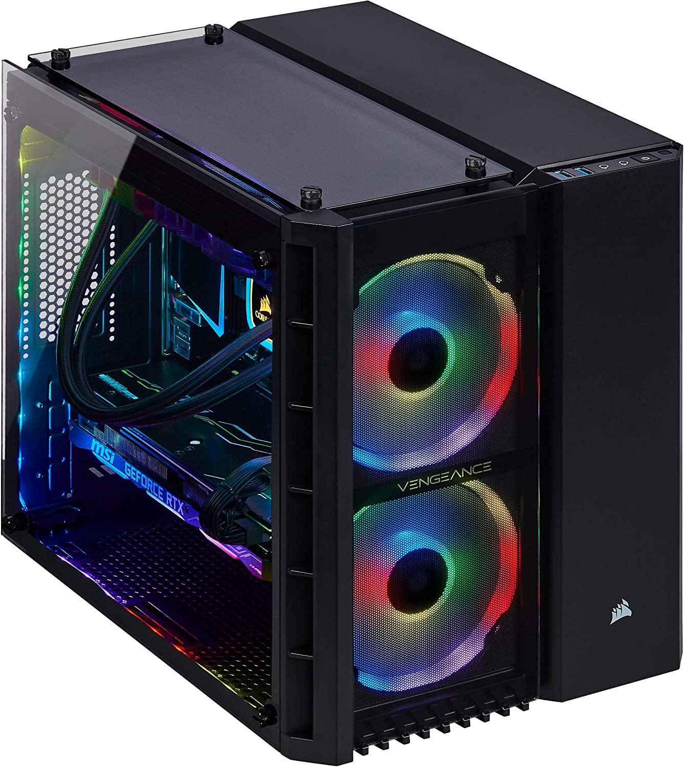 Corsair Vengeance 5182 Gaming PC, Liquid Cooled Intel Core i7-9700, NVIDIA GeForce RTX 2070 Super, 480GB M.2, 2TB HDD, 16GB DDR4, i7-9700 - 16GB DRAM