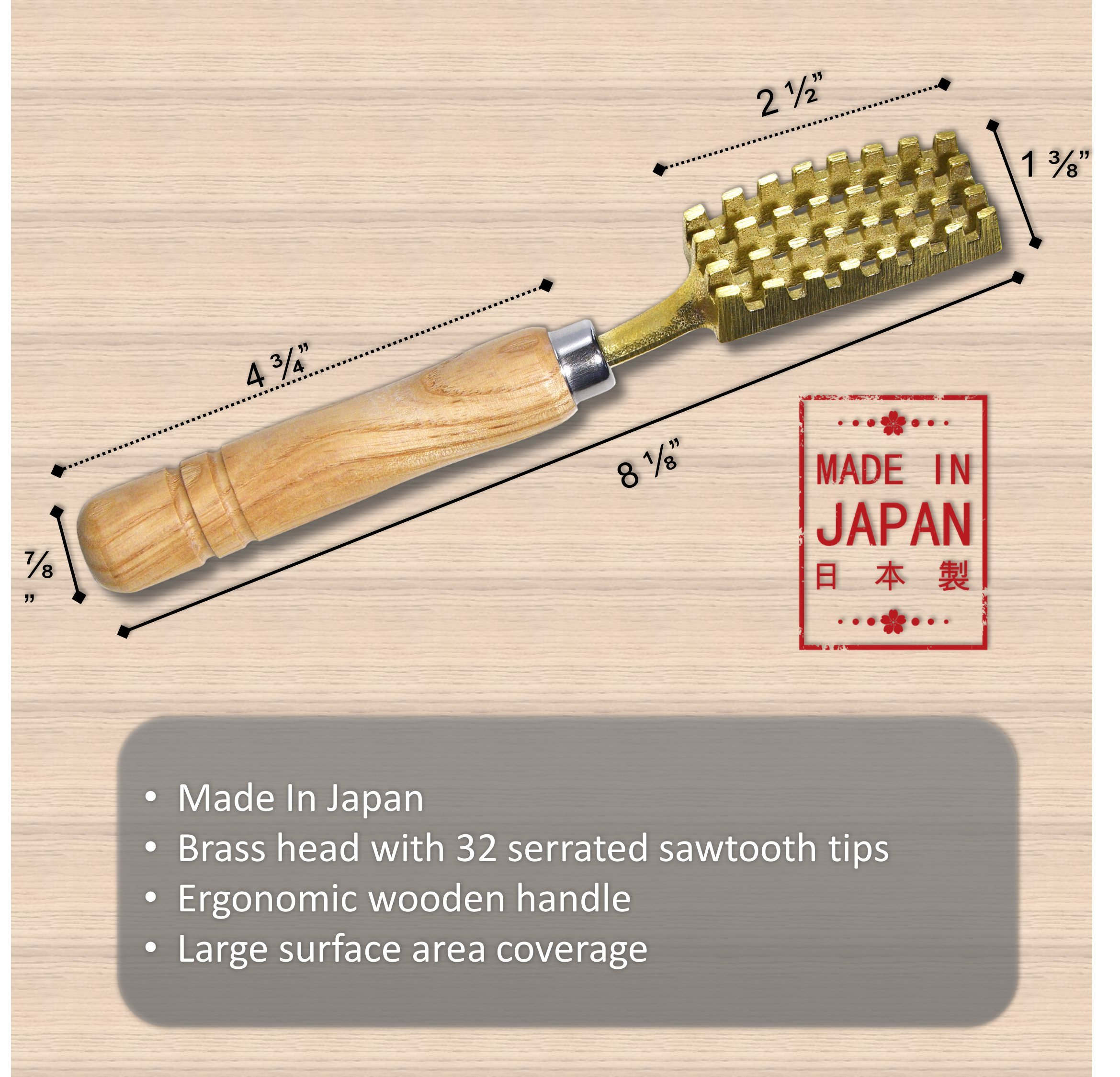 Kwizing Made in Japan Fish Scaler Brush with Brass Serrated Sawtooth and Ergonomic Wooden Handle - Easily Remove Fish Scales Without Fuss Or Mess - Handcrafted by Japanese Artisans by Kwizing (Image #2)