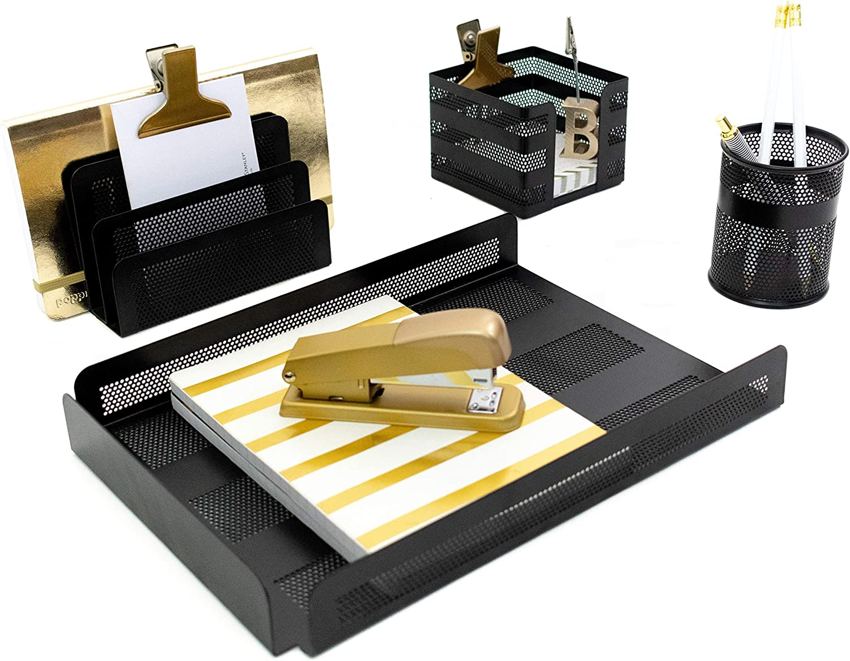 Blu Monaco Black Desk Organizer for Men - Set of 4 Pieces - Letter - Mail Organizer, Sticky Note Holder, Pen Cup, Paper - Document Tray - Cubicle Organizer Black