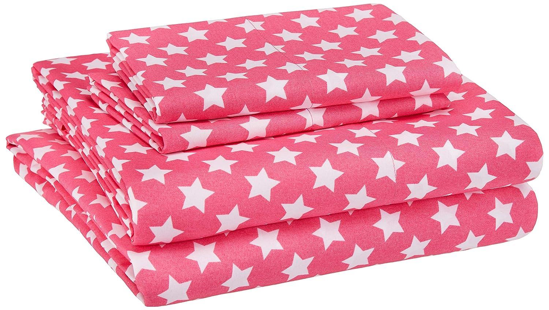 AmazonBasics Kid's Sheet Set - Soft, Easy-Wash Microfiber - Queen, Pink Stars