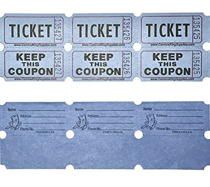 100 blue colored raffle tickets double roll 5050 carnival fair split the pot one