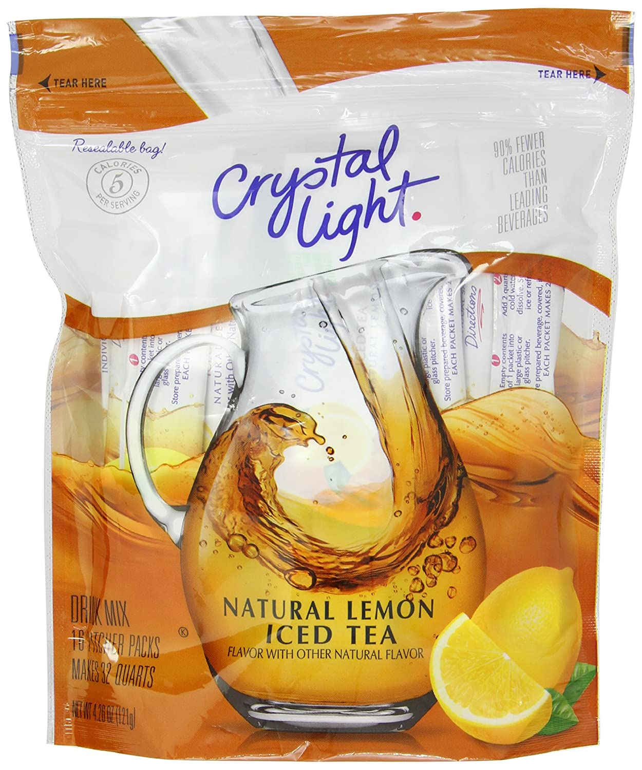 Amazon.com : Crystal Light Ice Tea, Natural Lemon, 16 Count : Powdered Soft  Drink Mixes : Grocery & Gourmet Food