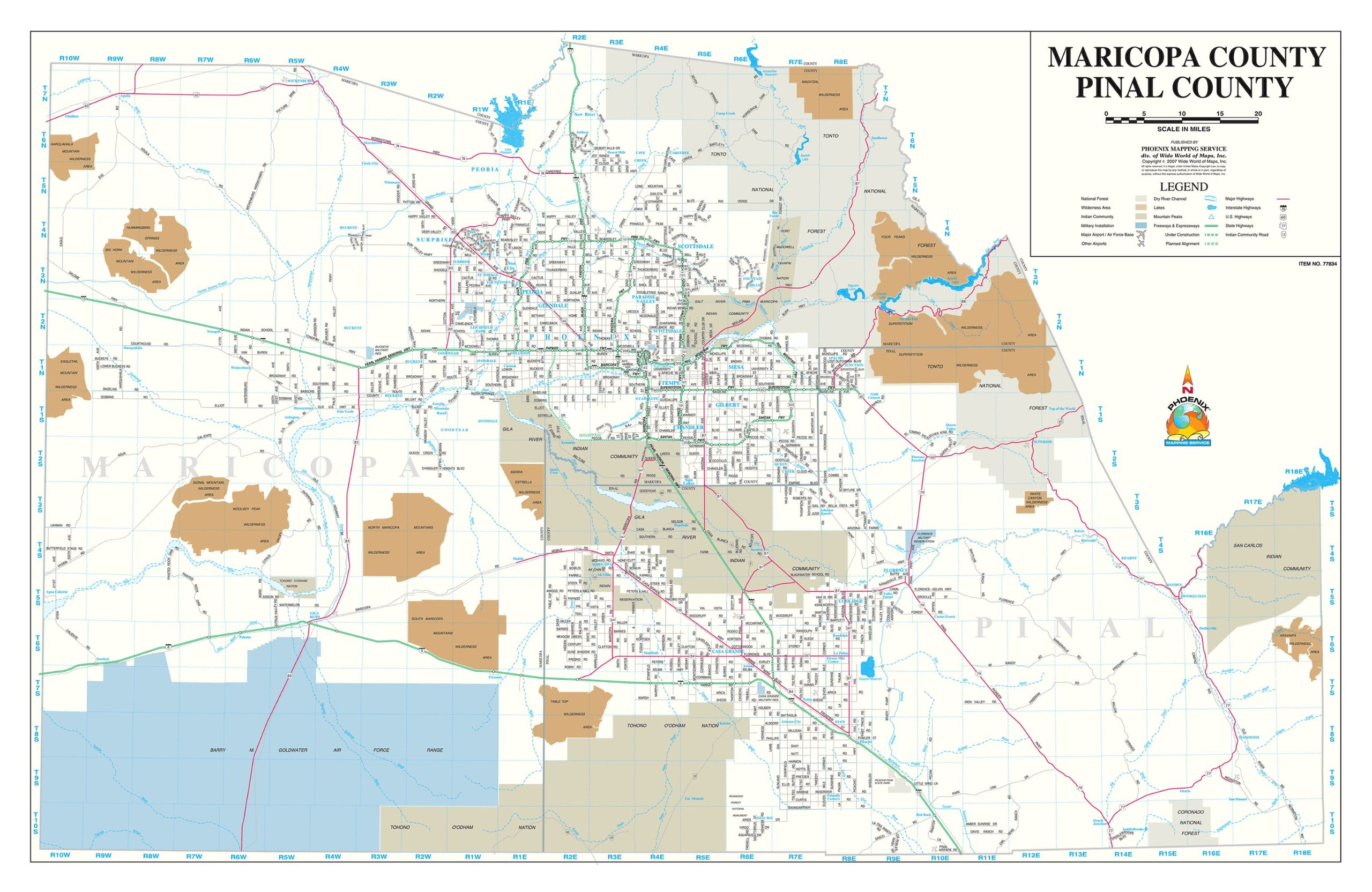 Read Online Maricopa County · Pinal County Wall Map ebook