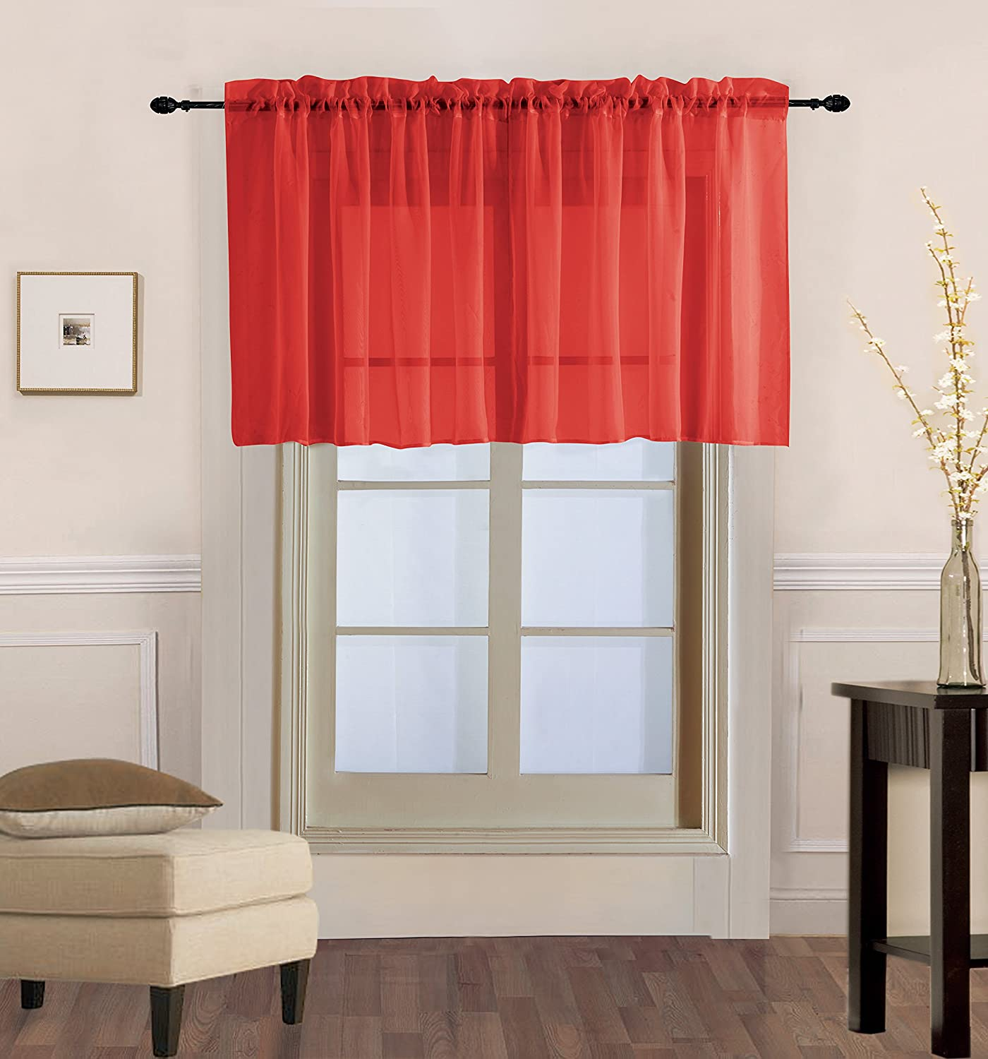 "Luxury Discounts 2 PC Solid Rod Pocket Sheer Window Curtain Treatment Drape Voile Panels In Variety Of Colors (55""x36"", Red)"