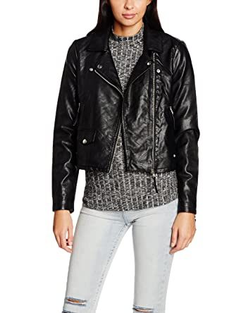 Vero Moda VMSIMONE SHORT PU JACKET NOOS, Blouson Femme, (Black), 38 (Taille fabricant: Medium)