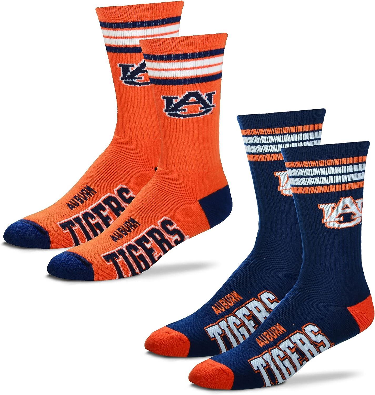 For Bare Feet Mens 4 Stripe Deuce Crew Socks-Auburn Tigers-Large-2 Pack
