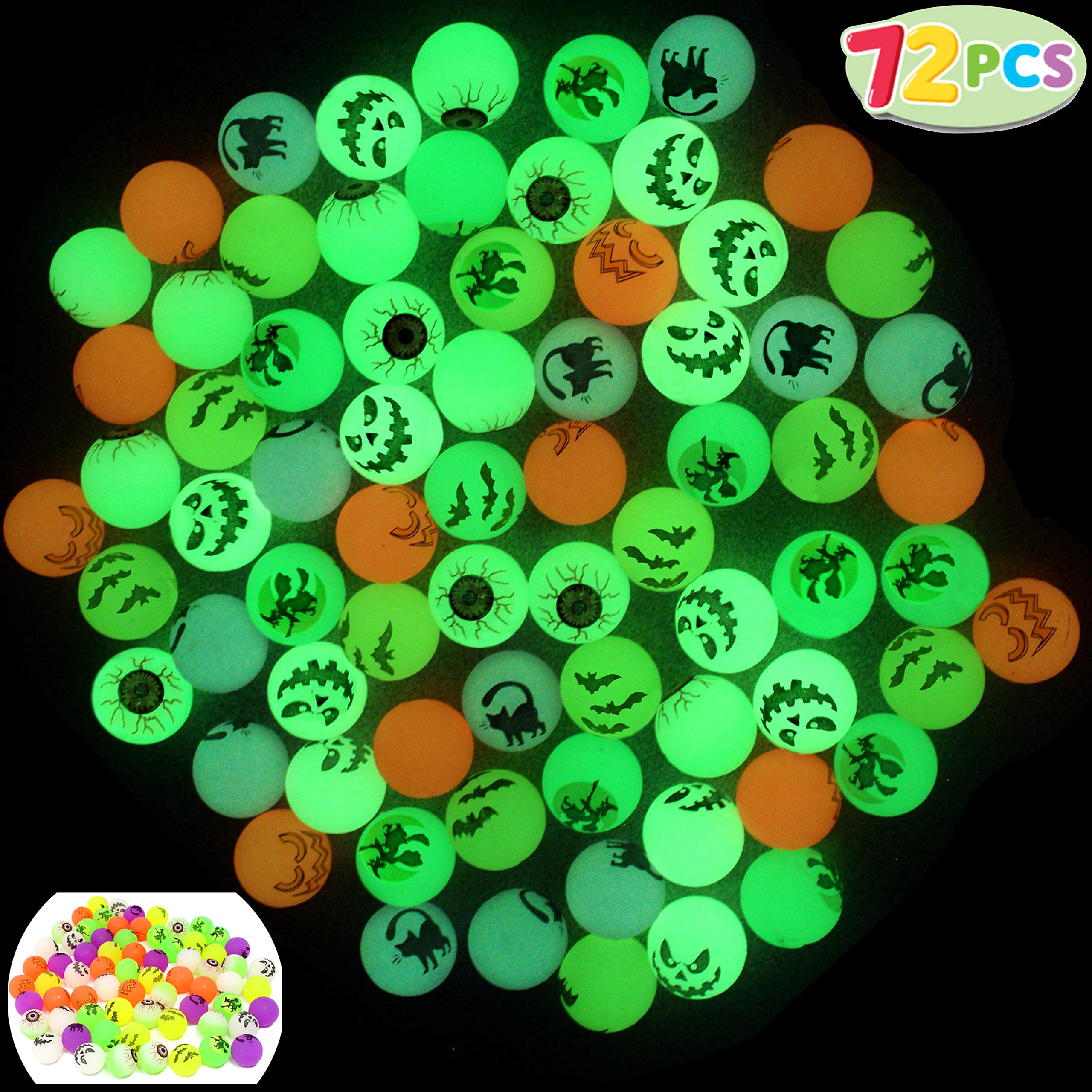 JOYIN 72 Glow in The Dark Bouncing Balls 1.25'' | 6 Halloween Theme Designs | for Halloween Bouncy Party Favor Supplies, School Classroom Game Rewards, Trick or Treating Goodie by JOYIN