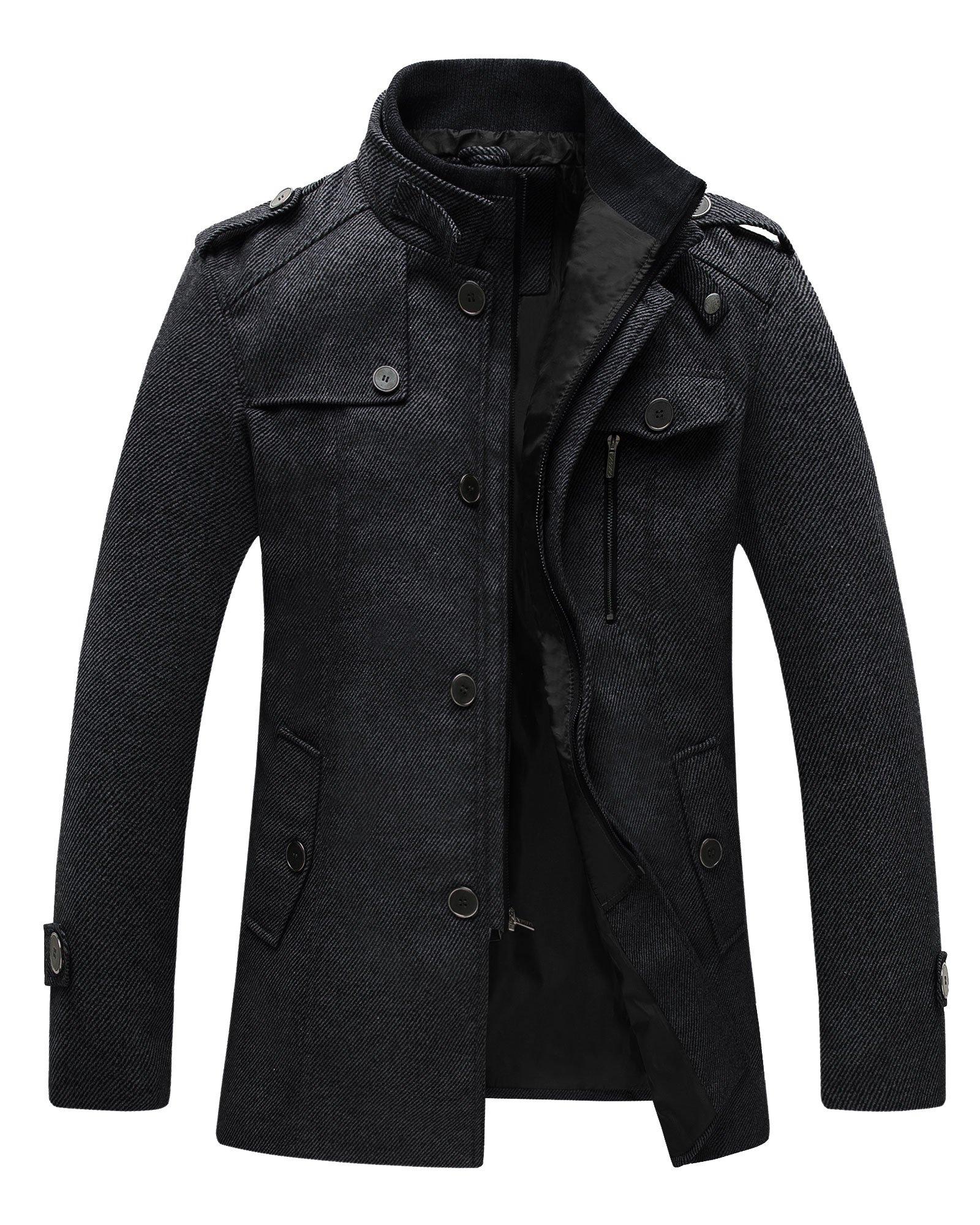 Wantdo Men's Wool Coat Stand Collar Windproof Jacket Overcoat Black Medium