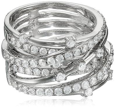 da7a23229 Amazon.com: Crislu Cubic Zirconia Entwined Silver Ring: Jewelry
