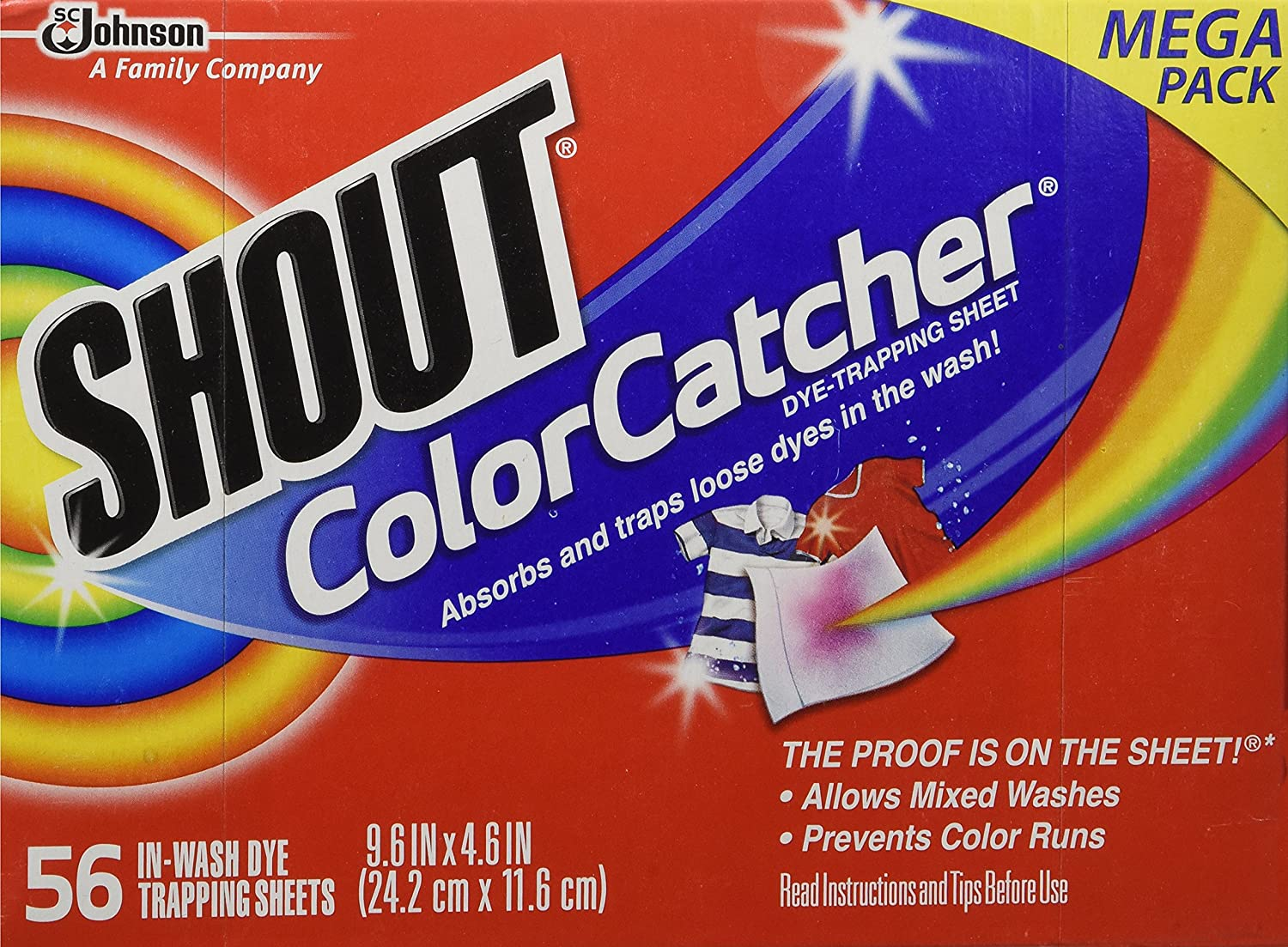 Amazon.com: Shout Color Catcher Washer Dye Trapping Sheet,56 Count ...