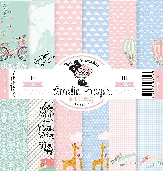 Amelie Prager AMSP01002 Papel Scrapbooking, 30.5 x 32 cm, Set de 6 Piezas: Amazon.es: Bricolaje y herramientas