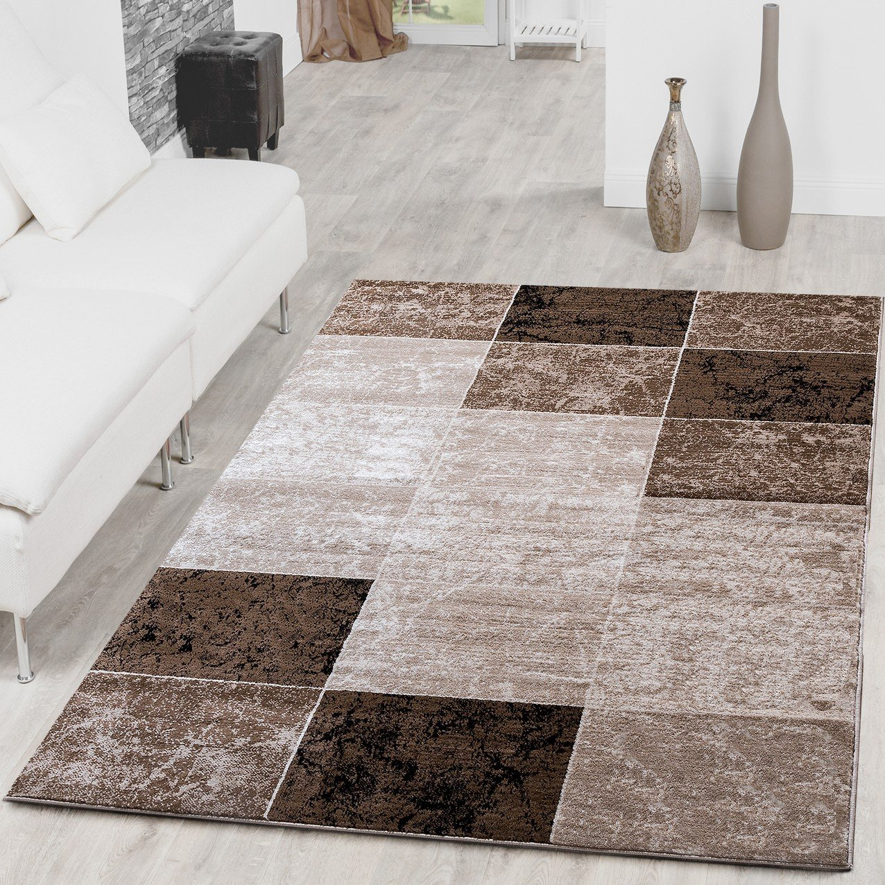 perfect tapis carreaux moderne pour salon beigemarron x cm with tapis rond maison du monde. Black Bedroom Furniture Sets. Home Design Ideas