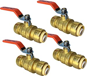 """PROCURU 3/4-Inch PushFit Brass Ball Valve   Push-to-Connect, Full Port Heavy Duty Valve for Copper, PEX, CPVC, Lead Free Certified (3/4"""", 4-Pack)"""