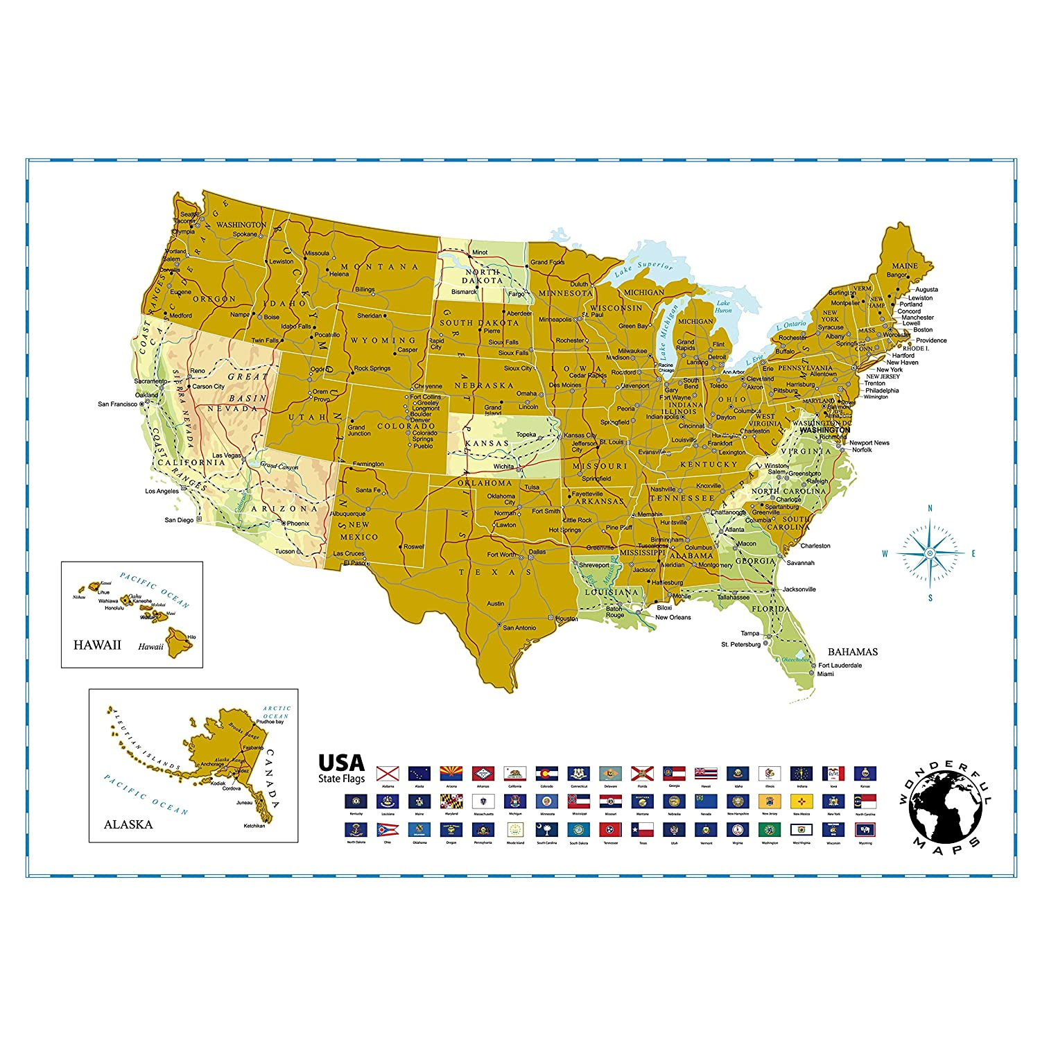 Amazon Com Scratch Off Map Of The United States Of America With