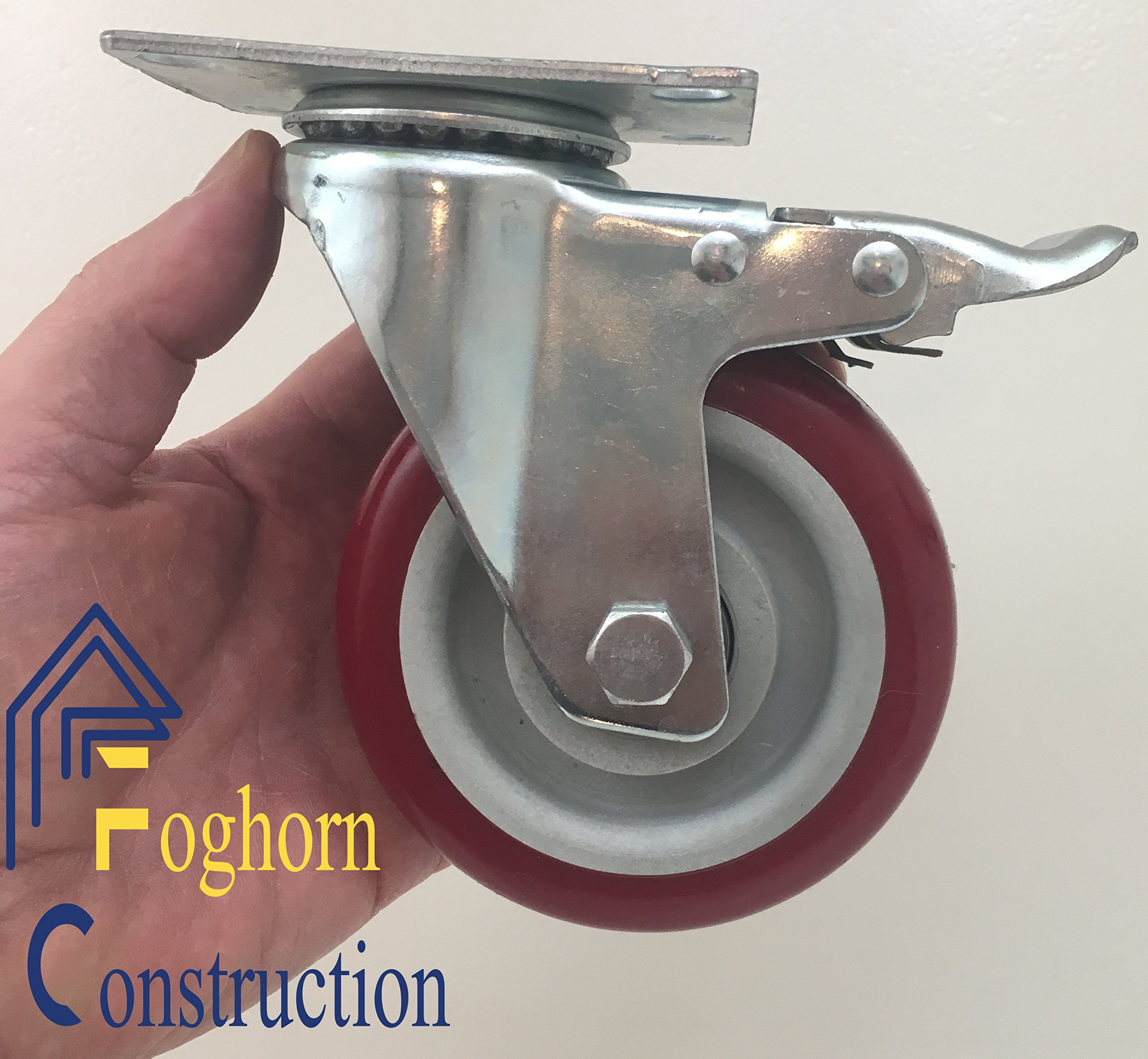4 inch (Set of 4, with 2 BrakeSwivel and 2 Fixed Casters) Poly Tread - Sealed Bearing Wheels by Foghorn Construction (Image #6)
