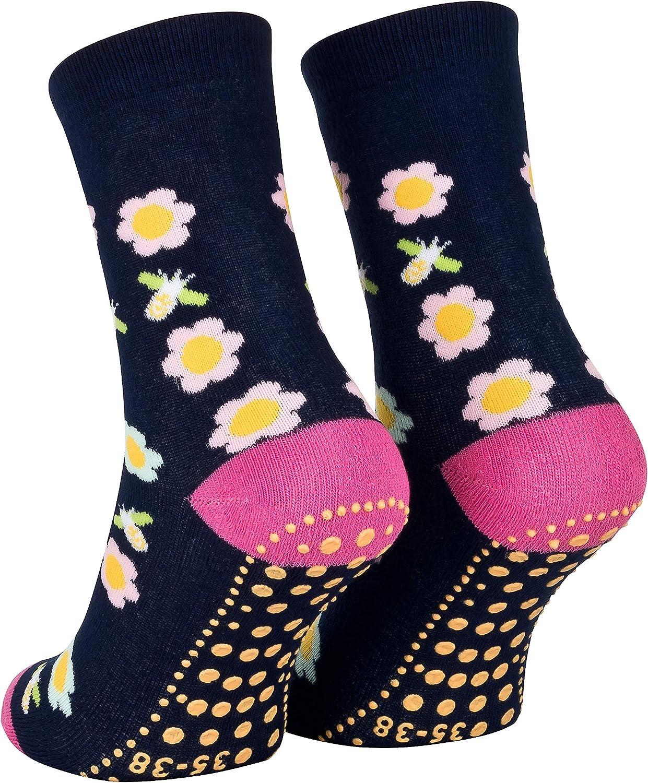 35 36 37 38 Piarini 2 Paar Kinder Stoppersocken ABS Socken Anti Rutschsocken Noppen Baumwolle Jungen M/ädchen Blau Blumen Gr