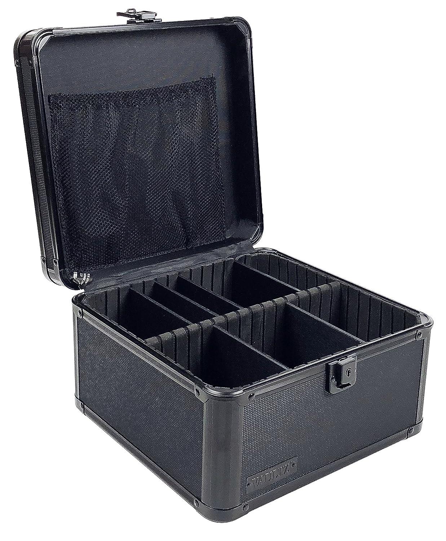 Vaultz Locking Storage Box with Key Lock, Mesh Pocket and Adjustable Interior Compartments, Tactical Black (VZ01036)