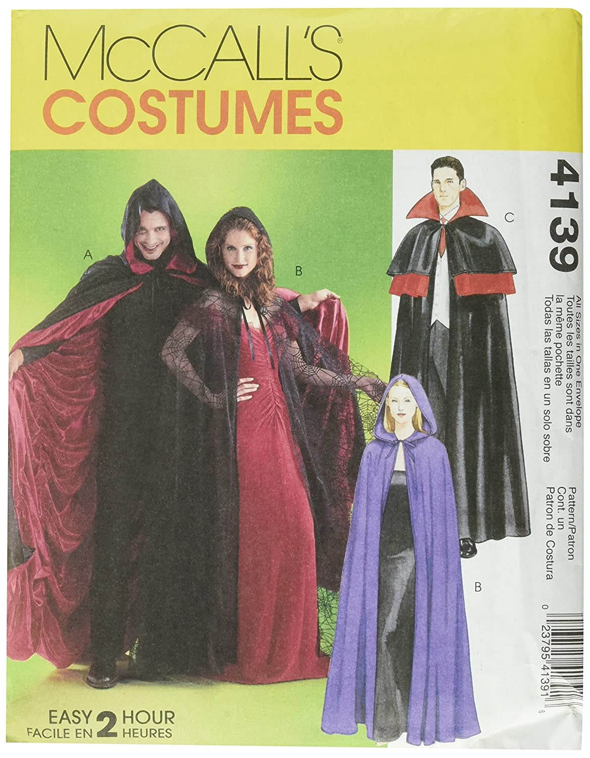McCall's Patterns M4139 Misses'/Men's/Teen Boys' Lined and Unlined Cape Costumes, All Sizes
