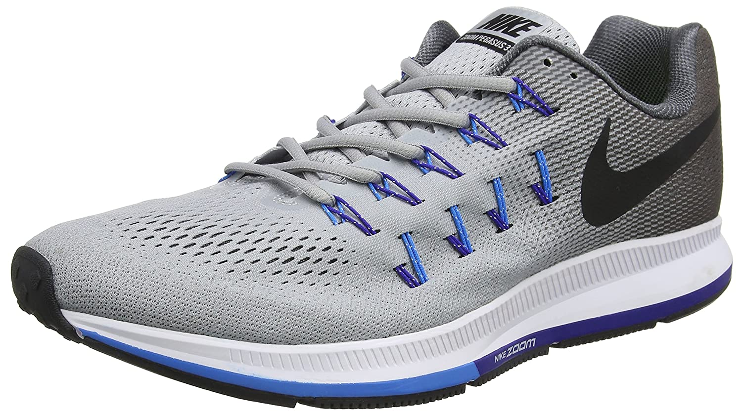 Nike Men's Air Zoom Pegasus 33 B0145U8ICM 7.5 D(M) US|Wolf Grey/Black/Dark Grey/Blue