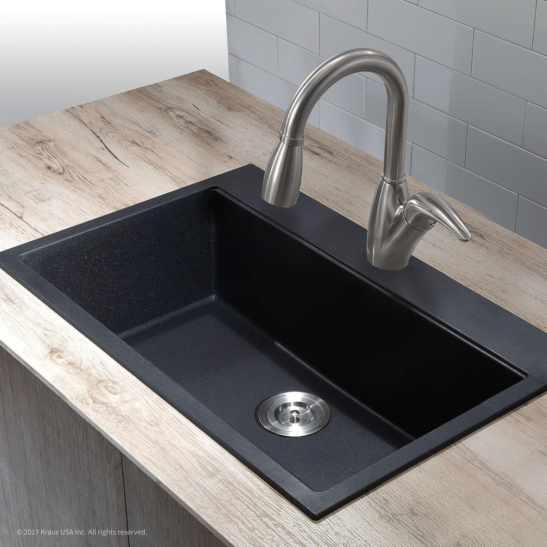 Kraus KGD-412B 31 1/5 inch Dual Mount Single Bowl Black Onyx Granite ...