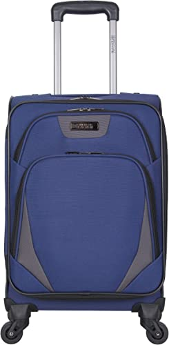 Kenneth Cole Reaction Going Places 20 600d Polyester Expandable 4-Wheel Spinner Carry-on Luggage, Navy