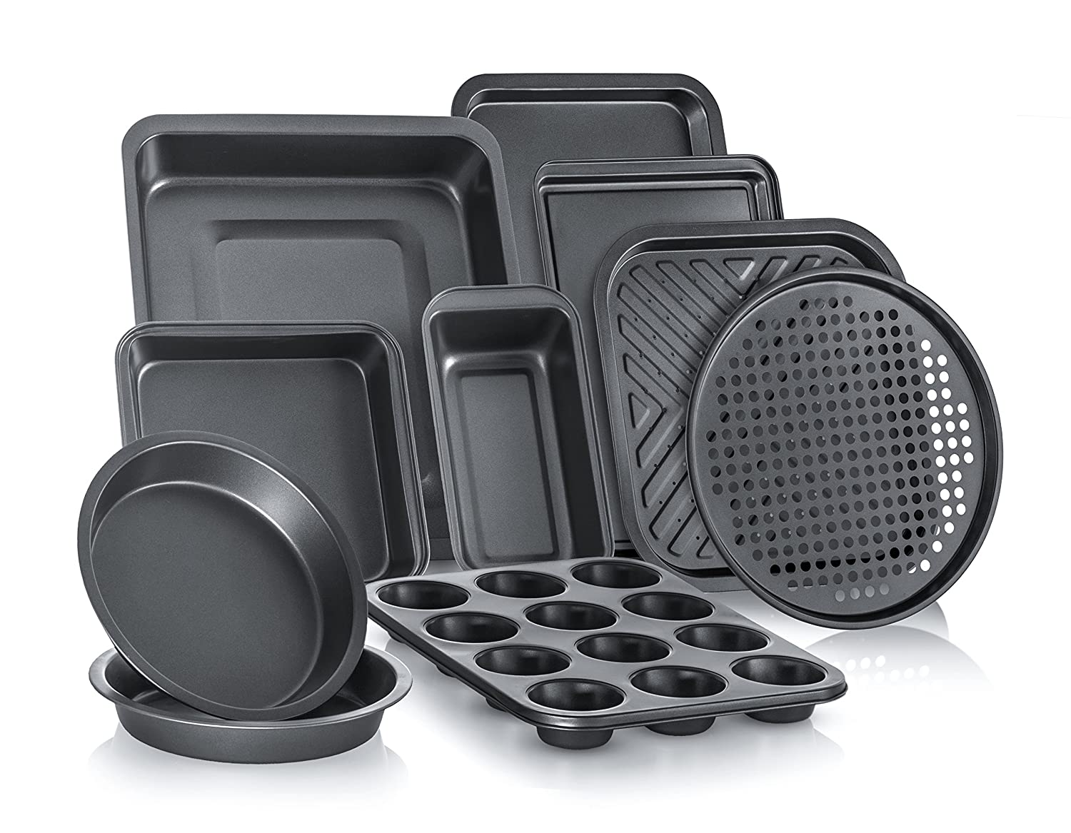 Perlli Complete Bakeware Set 10-Piece Non-Stick, Oven Crisper, Pizza Tray, Roasting, Loaf, Muffin, Square, 2 Round Cake Baking Pans, Large and Medium Nonstick Cookie Sheet Bake Ware for Home Kitchen P-BK-10SET