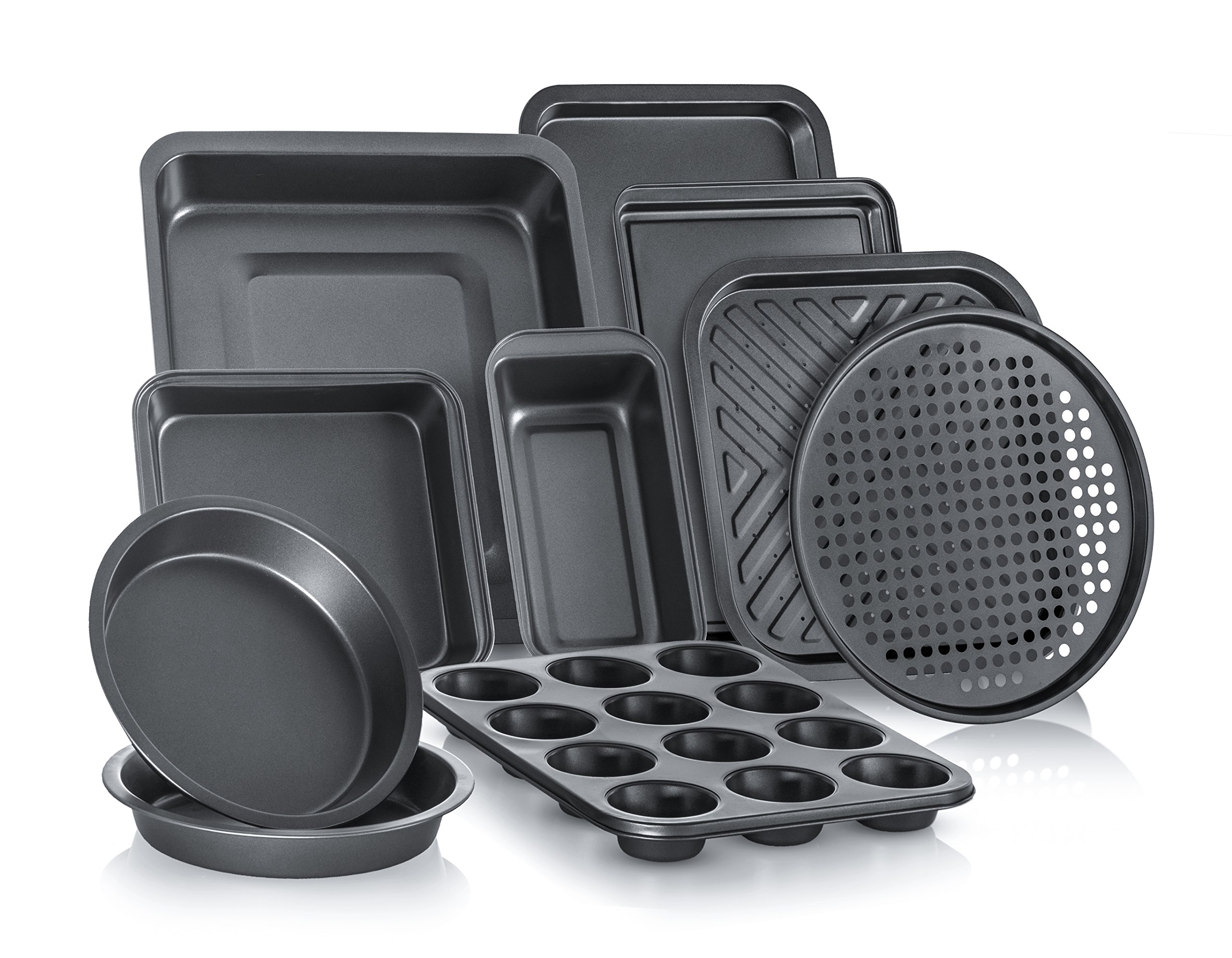 Perlli Complete Bakeware Set 10-Piece Non-Stick, Oven Crisper, Pizza Tray, Roasting, Loaf, Muffin, Square, 2 Round Cake Baking Pans, Large and Medium Nonstick Cookie Sheet Bake Ware for Home Kitchen by Perlli