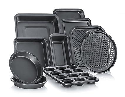 Perlli Complete Bakeware Set 10 Piece Non Stick Oven Crisper Pizza Tray