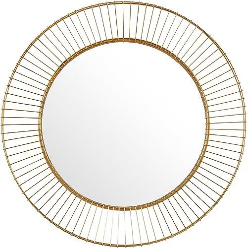 Amazon Brand Rivet Modern Round Iron Circle Metal Hanging Wall Mirror, 27.75 Diameter, Gold Finish