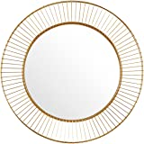 """Rivet Modern Round Iron Circle Metal Hanging Wall Mirror, 27.75"""" Diameter, Gold Finish"""