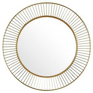 """Rivet Modern Round Iron Circle Metal Mirror, 27.75"""" Diameter, Gold Finish"""
