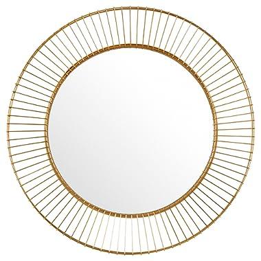 Rivet Modern Round Iron Circle Metal Hanging Wall Mirror, 27.75  Diameter, Gold Finish