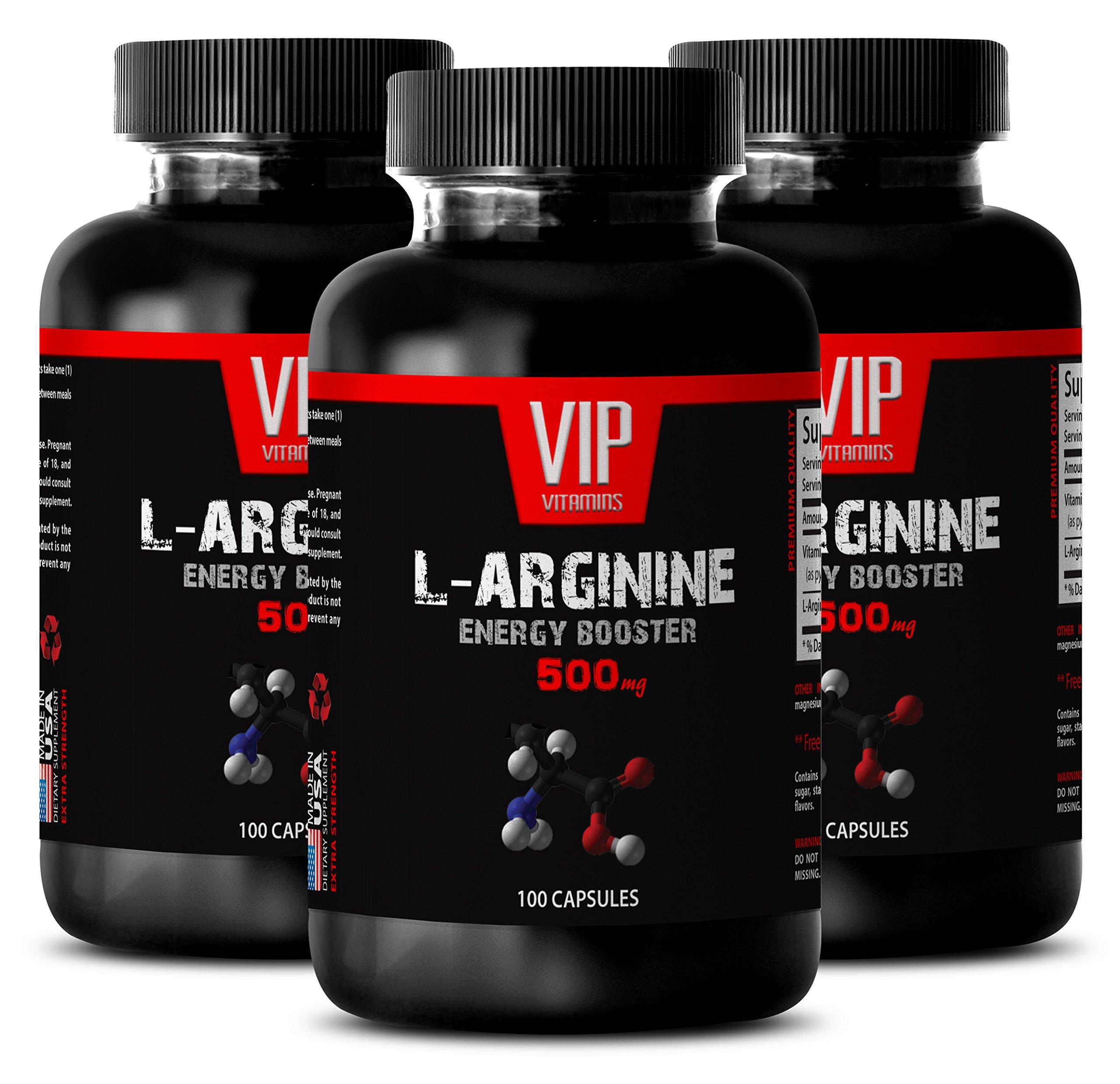 Arginine men - L-ARGININE Energy Booster 500 mg - Fitness supplements - 3 Bottles 300 Capsules