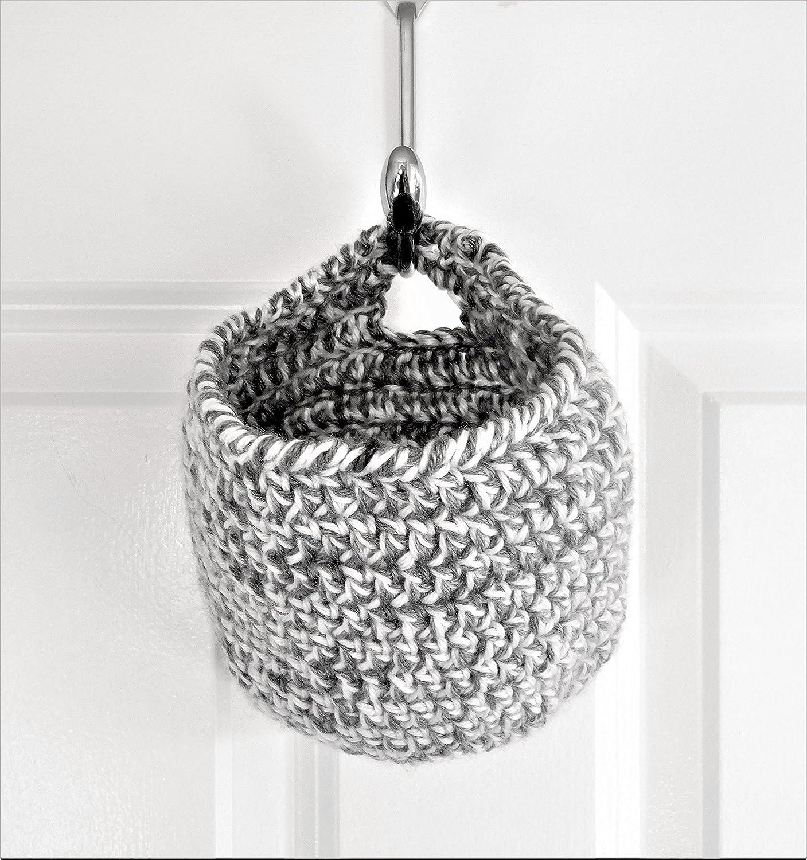 Crochet Hanging Basket - Dorm Storage - Baby Shower Present - Gray and White