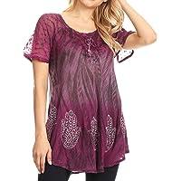 Sakkas Lily - blouse met korte mouwen voor de zomer met blok en kant