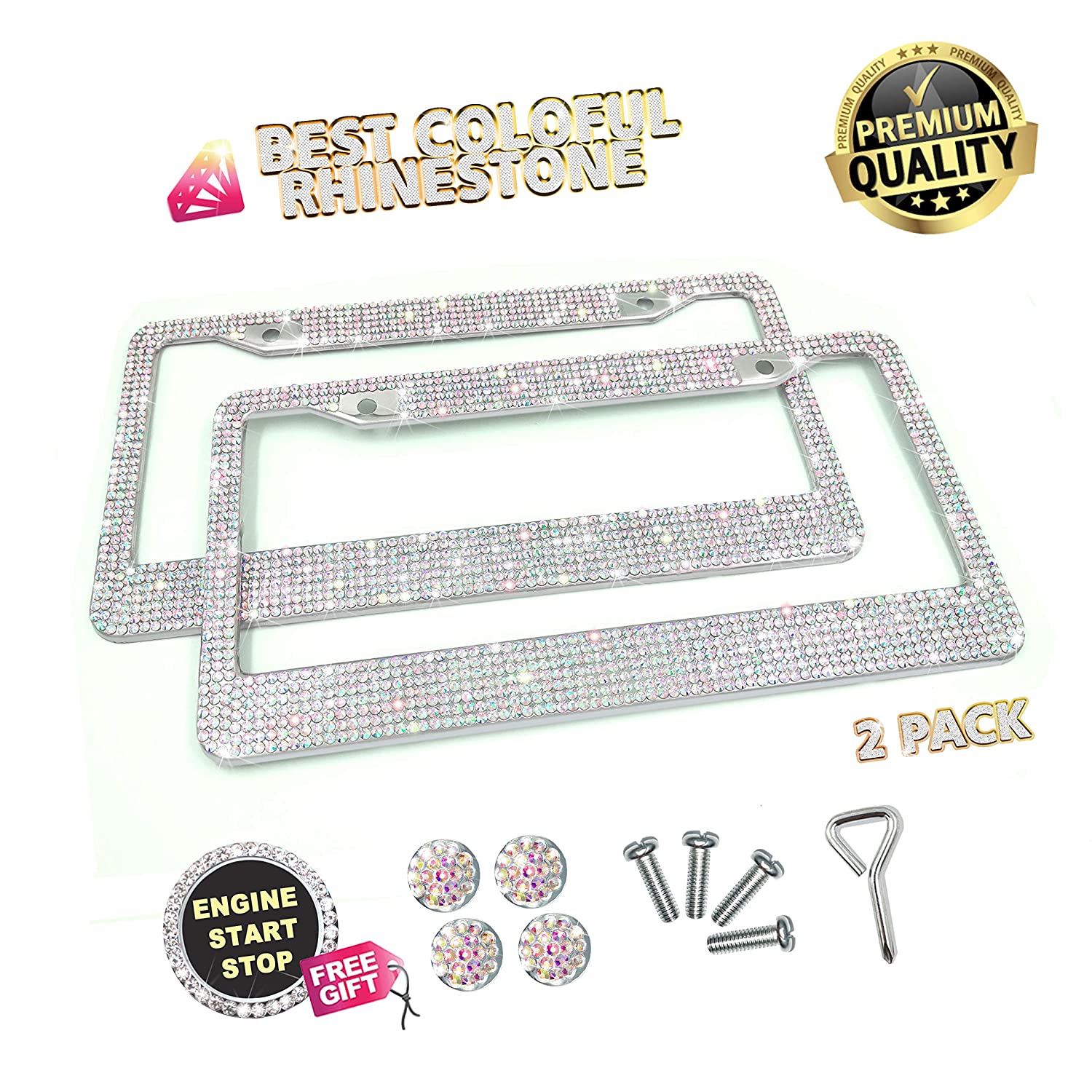 2 Pack Handcrafted Rhinestone Auto License Plate Cover with 7 Shiny Crystal Rows,Over 1050 pcs Finest 14 Facets SS16 Clear Bling Rhinestone Crystal Lord Eagle License Plate Frame