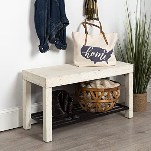 Kate and Laurel Jeran Entryway Farmhouse Bench with Iron Shoe Shelf, 36x14x20, White