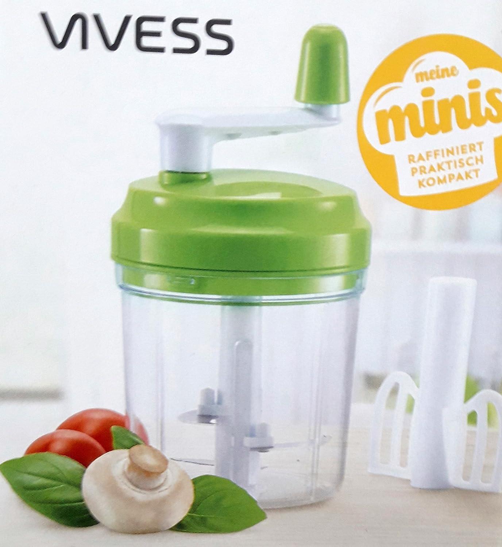 Compra Vivess Mini Robot de cocina – Batidora Picadora Schneider manual mano mezclador 300 ml en Amazon.es