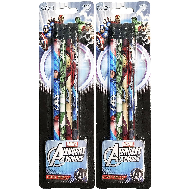 マーベル アベンジャーズ アイアンマン キャプテンアメリカ ハルク ソー 木製鉛筆パック 8 Pencils B07D7H8FCF  8 Pencils
