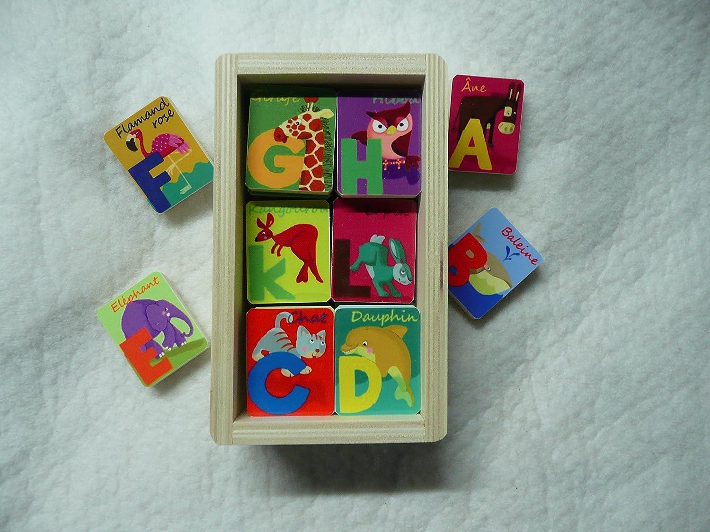 Abécédaire en bois  Animaux  très coloré, éducatif et ludique