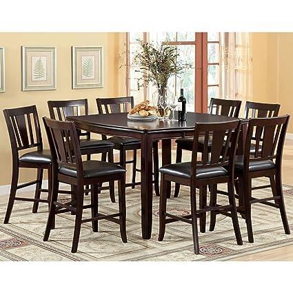 062f558c98a844 Amazon.com - Furniture of America Corithea Espresso 9-Piece Counter ...