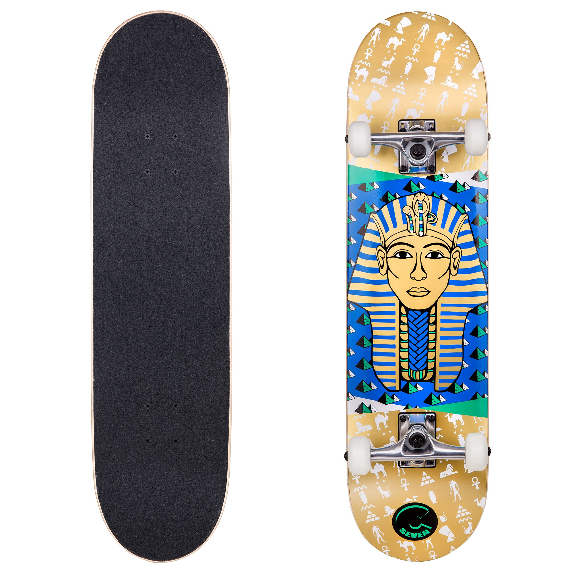 Cal 7 Complete Skateboard, Popsicle Double Kicktail Maple Deck, 31 Inches, Perfect for All Skate Styles in Various Graphic Designs (8'' Pharaoh)