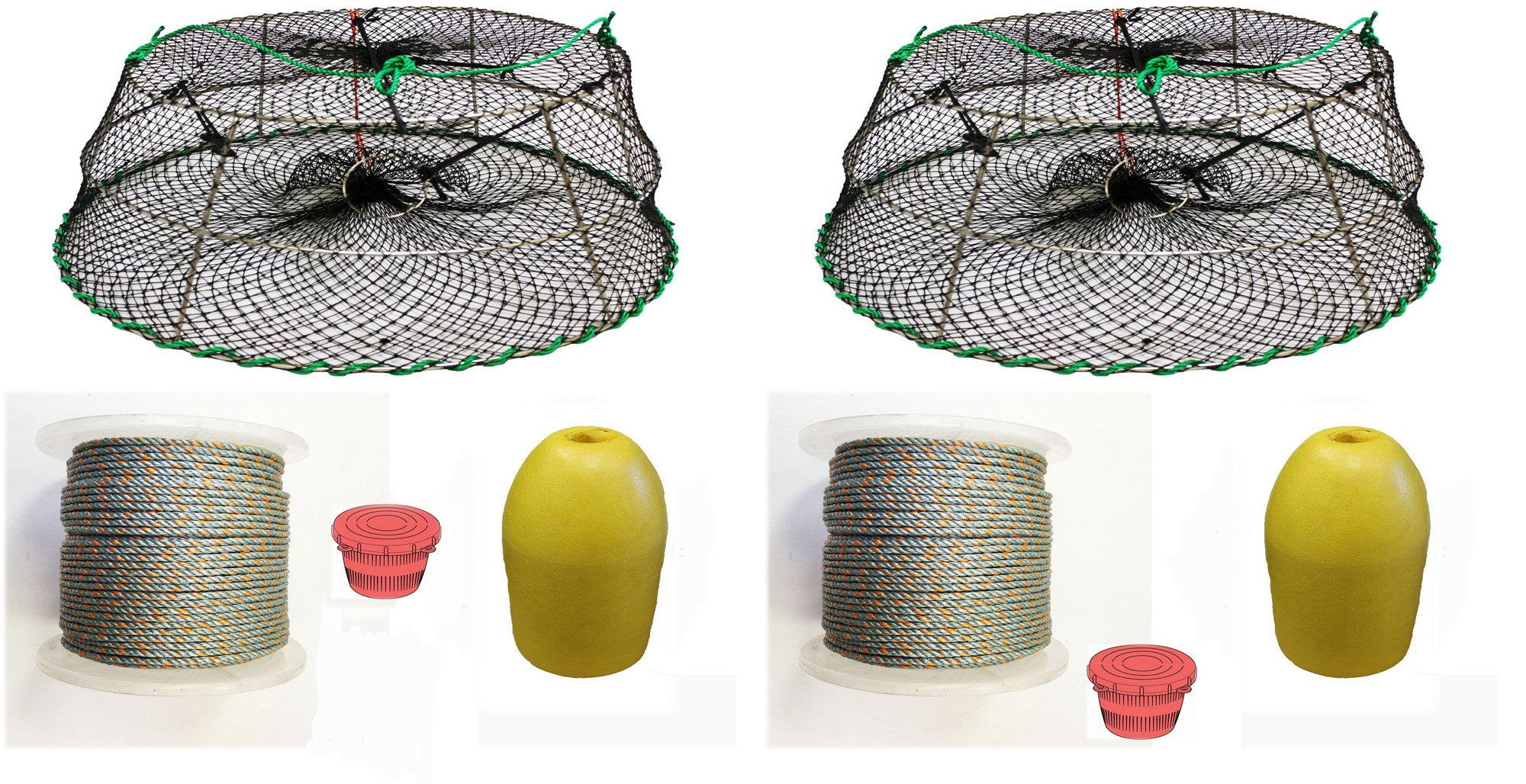 2-Pack of KUFA Sports Tower Style Prawn trap with 400' rope, Yellow float and Vented Bait Jar combo (CT77+PAQ1)X2