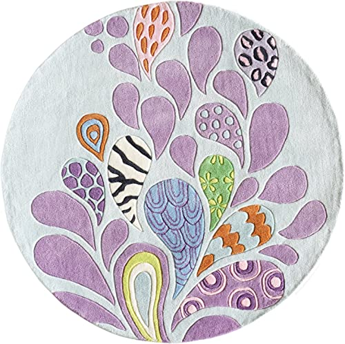 Momeni Rugs Lil Mo Hipster Collection, Kids Themed Hand Carved Tufted Area Rug, 5 Round, Pink Blue