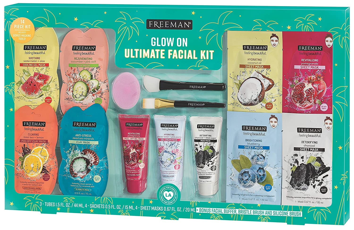 Freeman Facial Mask Gift Set with 2 Bonus Mask Brushes, 14 Piece Set