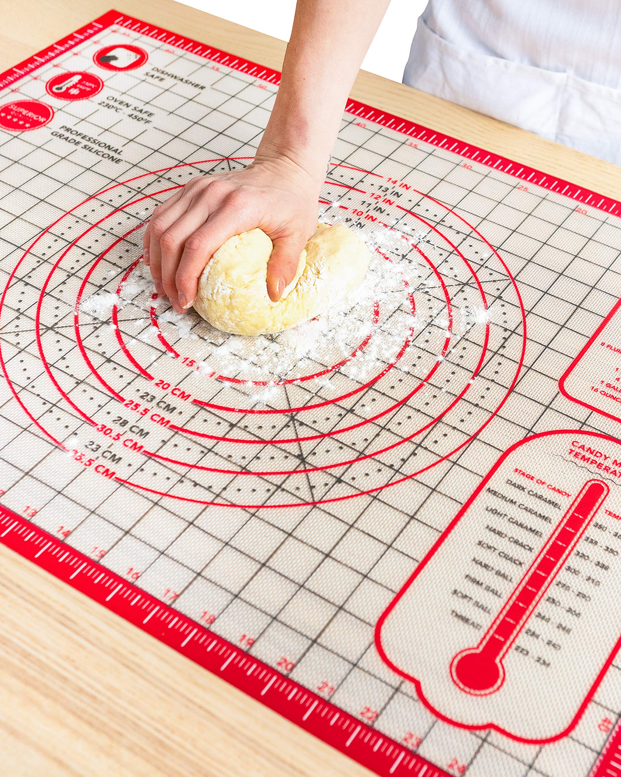 Pastry Mat Silicone Non Slip - Extra Large Thick Non Stick Silicone Baking Mat For Rolling Dough Pie Crust Fondant Pizza and Cookies - Heavy Duty Easy Clean Kneading Mat With Measurements - 20'' x 28'' by Kitzini (Image #8)