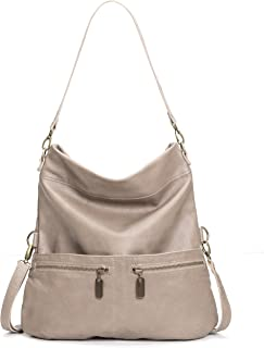 product image for Taupe Italian Leather Medium Convertible Foldover Crossbody