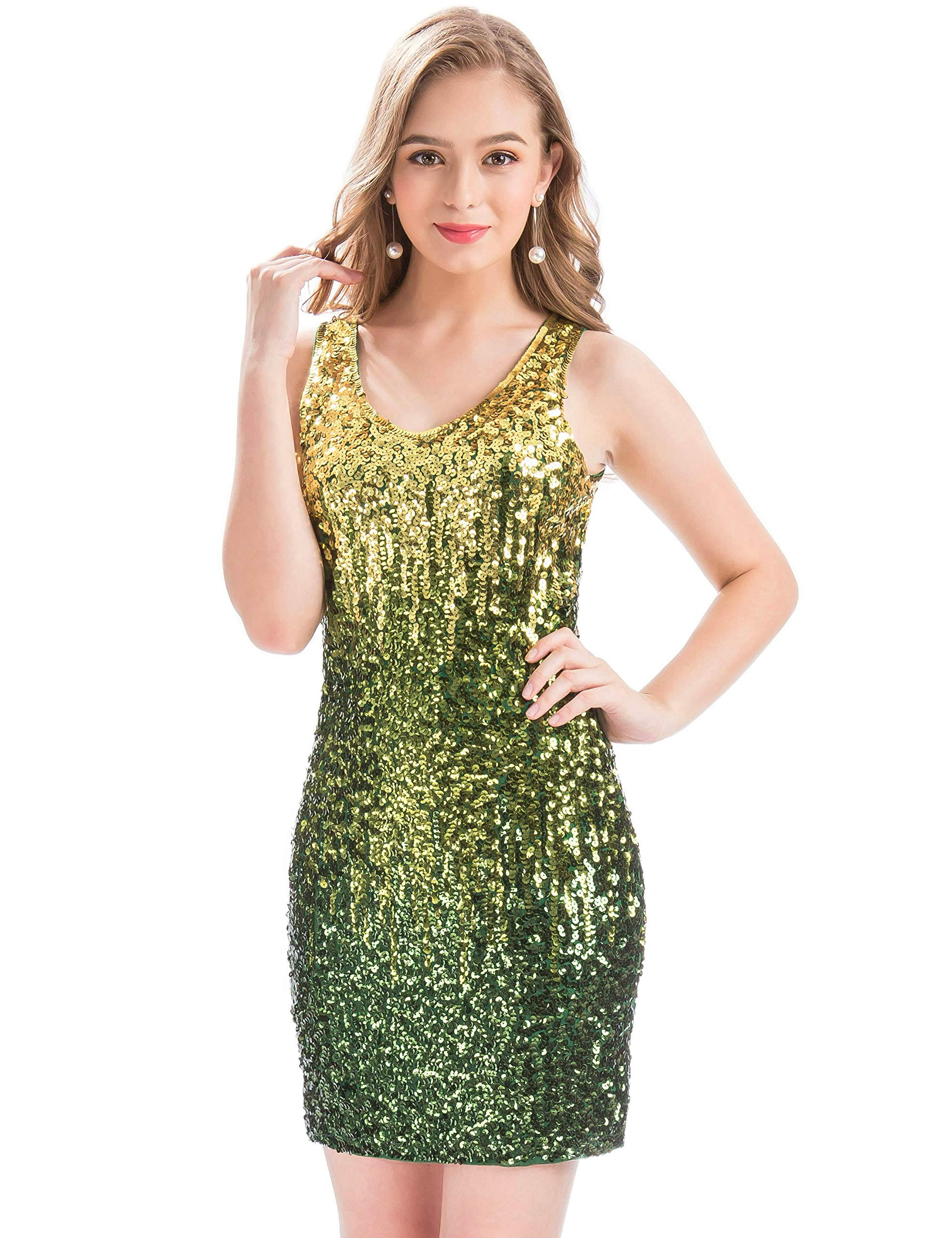 ef7dd3fa63e2 MANER Women's Sexy V Neck Sequin Glitter Bodycon Stretchy Club Mini Party  Dress (S, Lemon/Emerald Green/Dark Green)