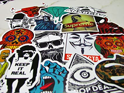 aec0ef35e4b64 SNation 145pcs Stickers Laptop Stickers Hypebeast Skateboard ...